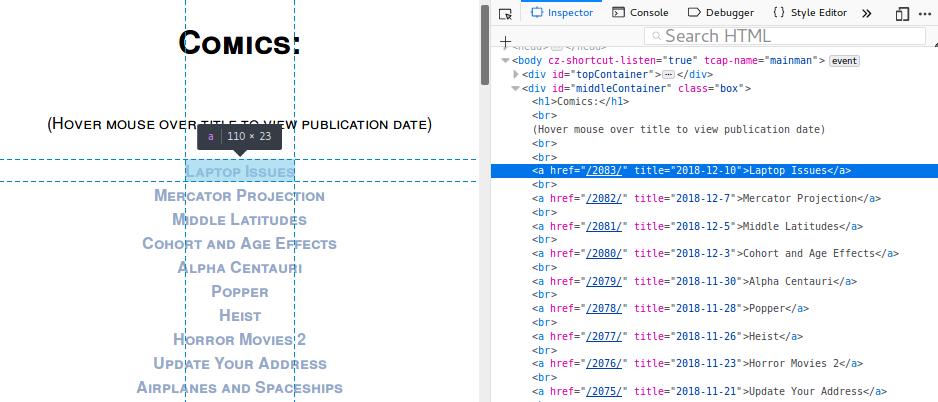 Beispiel, wie man die Struktur hinter den auf der Webseite angezeigten Daten findet