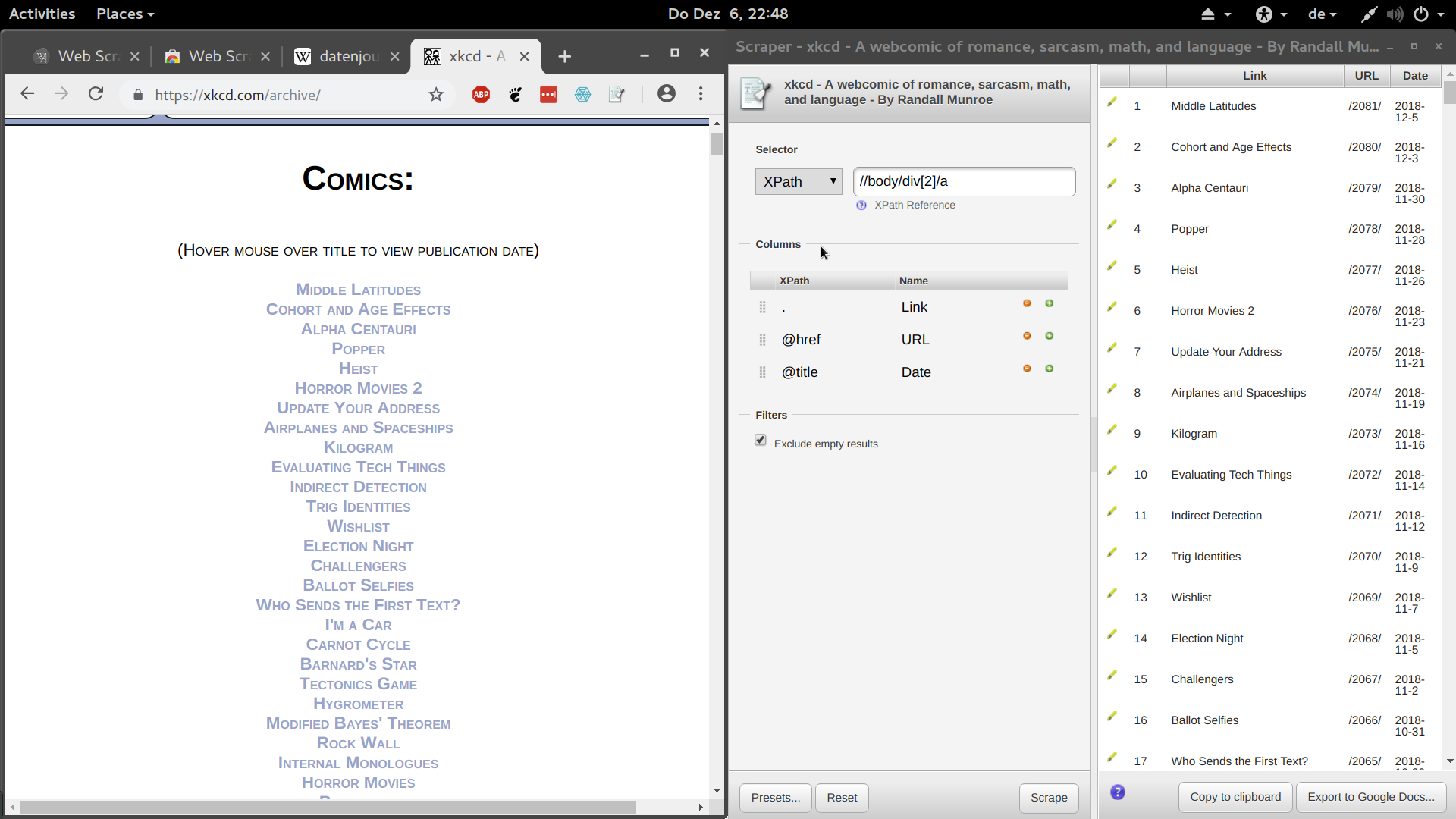 Screenshot of the Chrome Scraper Extension in action