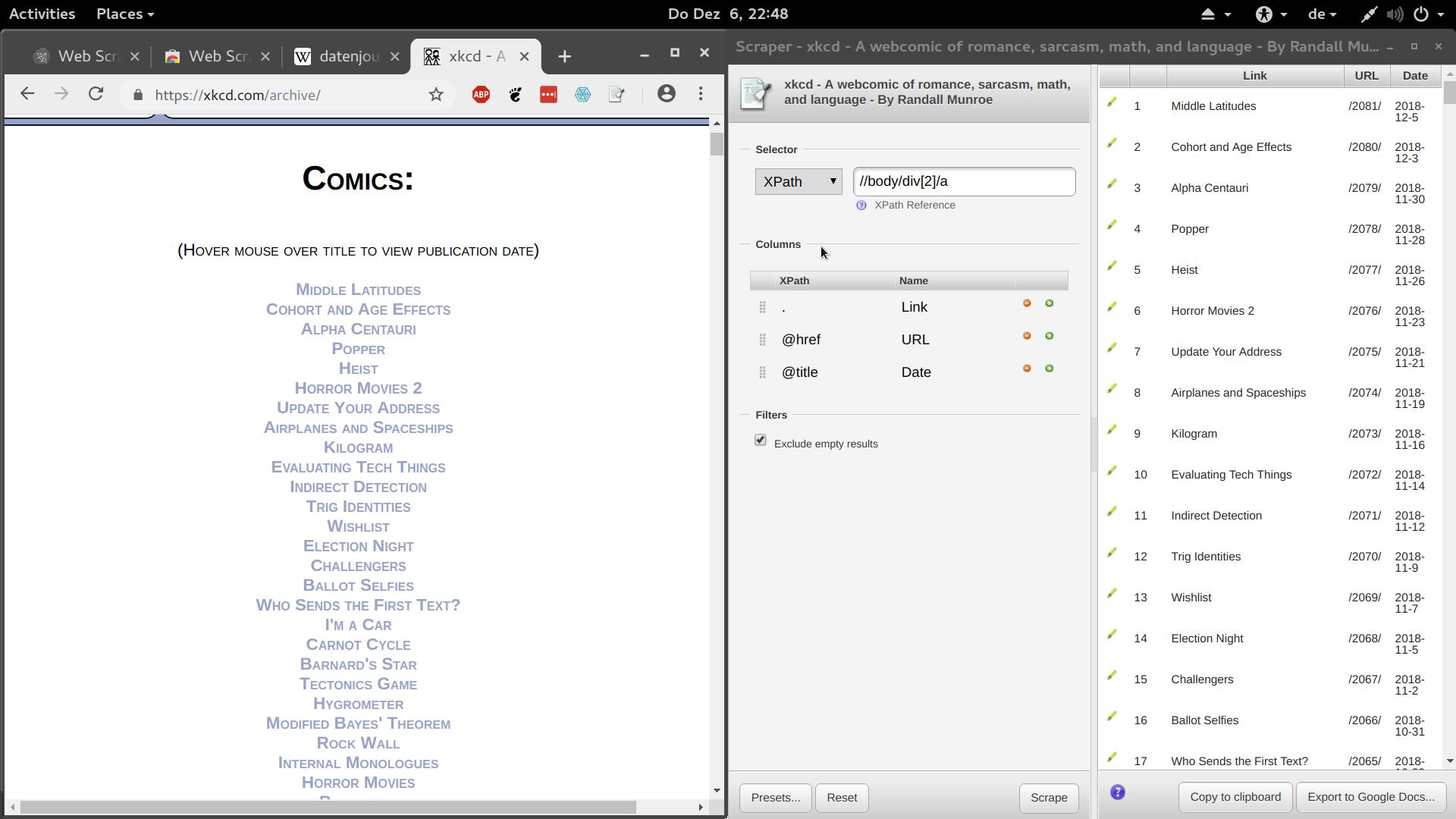 Screenshot der Chrome Scraper Extension in Aktion