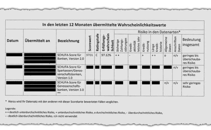 Screenshot of Schufa report