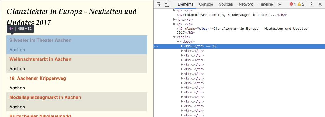 Website-Struktur wie im Entwicklermodus gesehen